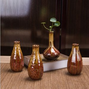 Vast 4pc set Yellow glaze kiln furniture flower vase decoration antique art glaze ceramic mini flower device