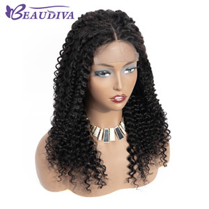 Beaudiva Kinky Curly Lace Encerramento Humano Perucas 4x4 For Women Pré arrancado com o cabelo do bebê peruana 4 * 4 Lace Wig
