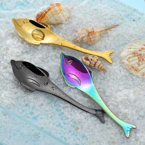 Herramientas sopa de pescado de acero 1pc Hippocampus Dolphin ballena Puffer inoxidable cucharas China Española té café cuchara de la cocina
