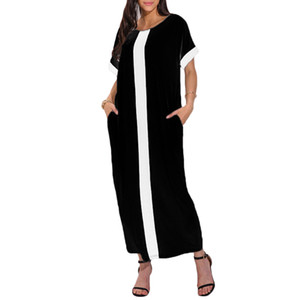 Romacci 2019 Summer Casual Fashion Femmes Contrast Panel Plus Taille Robe O manches courtes Casual vrac Maxi longue