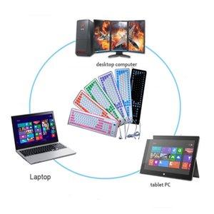 PC wholesales10ps için Bestseller Silikon Taşınabilir Kablolu Klavye Katlanabilir Roll Up Sessiz 103 anahtar tuş takımları Yumuşak Silikon Esnek Teclado / lot