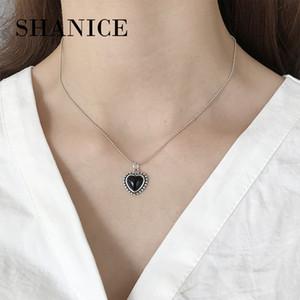 Shanice S925 prata Forever Love Black Heart Pendant Colar Para Mulheres Jóias amante presente Bead Cadeia