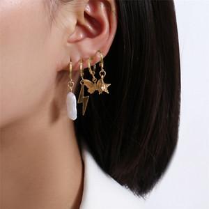 Butterfly Star Lightning PearlyWhites Type Women Earrings Set 4pcs Rhinestone Pendant Charm Ear Stud Fashion Jewelry FJ208-2