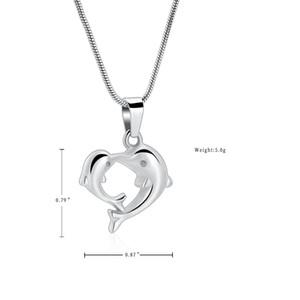 SB0005 Kissing Dolphins alta calidad para mascotas cremación joyería - Pérdida de collar de acero Memorial gato cenizas del amor del perro / recipiente de acero