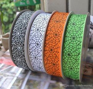 25 mm Ancho de la serie de Halloween Imprimir Grosgrain cintas Telaraña DIY hecho a mano arcos de tela material acanalado banda 100Yards = 1Piece