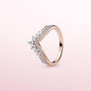 Sıcak Prenses İstek Halka Pandora için kaplama CZ elmas ile 925 ayar gümüş altın kaliteli cazibesi bayanlar halka tatil hediyesini gül