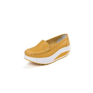 Yeni kadın nefes artış masaj deri yüzme ayakkabılar ince platformu salıncak kama ayakkabı sağlık açık ayakkabı