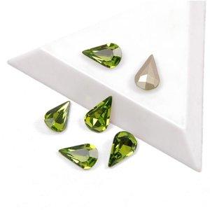 YANRUO 4300 a melhor qualidade de cristal Glitter Olivina Pear Cor Shaped Pointback Strass strass 3D Vidro Para Nail Art Decoração