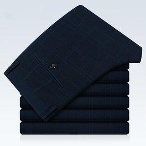 New Fashion Business Suit Pants men Size 40 Blue Black Gray Mens Plaid Trousers Slim Elegant Gentleman men pants