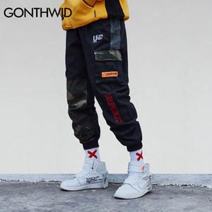 Gonthwid Kamuflaj Patchwork Yan Cep Kargo Harem Pantolon Erkek Casual Jogging Yapan Hip Hop 2018 Streetwear Pantolon Erkek C19040101
