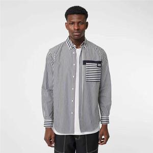 Otoño raya fina de los hombres Camisas de alta calidad rayas negras blancas camisas ocasionales para el hombre simple letra B Marca