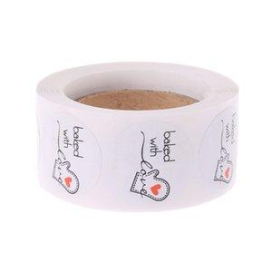 500pcs al horno con Ronda de Amor de papel Kraft Etiqueta adhesiva para hornear etiqueta para el festival de Navidad Caja de regalo de la torta N1HA