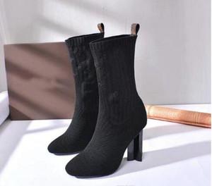 [Scatola originale] Nuovo di lusso delle donne della caviglia Hlaf tacco alto 10 CM lana calzino-come Boots signore High Top Boots Aftergame Quincunx tallone formato 35-41