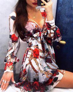 Осенние женские дизайнерские платья Sexy V образным вырезом с длинным рукавом Flora Printed Women Dresses with Sashes Женская одежда