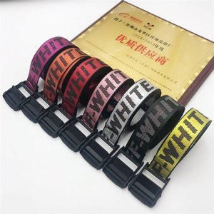 Right version OFF Belt embroidery WHITE Tide brand ins industrial style embroidery men and women all-match