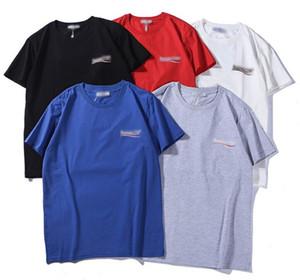 Dalga Çizgili Baskı Womens Tasarım Tişörtler Streetwear Paris Aşıklar Yaz Mürettebat Boyun tişörtleri Marka Gençler Kısa Kollu T-Shirts
