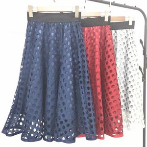 Spring and summer 2020 loose waist high waist skirt lace new hole in long section skirts