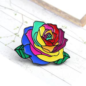 Renkli çiçekler sarı yeşil mavi kişilik yaratıcı broş sevimli karikatür özel gelgit yeni Ceketinizin rozeti denim kırmızı
