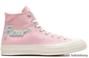 Golf Le Fleur x Chuck 70 Chenille Flames Hi Men Women Star Skateborad Shoes Fashion GLF 1970 High Pink Blue Canvas Sneaker Size 36-44