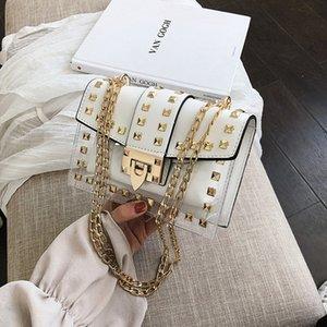 2020 Top quality Small clear Woman New Fashion Messenger Bag Chains Shoulder Bag Female Rivets Transparent Square PU Handbag
