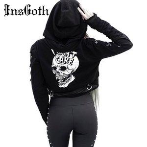 InsGoth Frauen Sweatshirts geerntete Pullover Gothic Schädel druckte Schwarz lose kurze Pullover Mesh-Patchwork Frauen Streetwear mit Kapuze