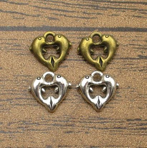 Wholesale Love Dolphin Charms 50PCS Lot 12*11mm Double Dolphins Heart Earring Pendants Charm Bracelet 2 Colors Available-WY1198