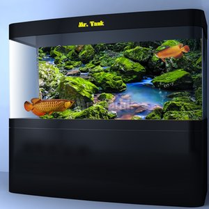 Mr.Tank Aquarium background poster con autoadesivo Green Moss pietra Rivulet PVC Fish Tank decorativo della parete del contesto Sticker