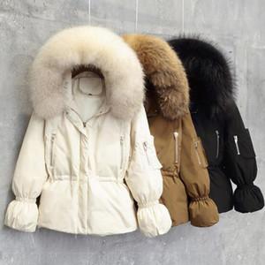 New Inverno Magro Rua Duck Quente Collar de Down Coats Mulheres de Slim Manga comprida com capuz Chapéus real pele grossa jaqueta de neve Casacos