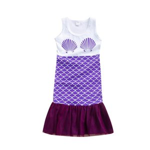 2020 Ins Mermaid baby girls dress girls dresses Costume lace kids dress long party dresses baby beach dress toddler girl clothes B975