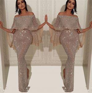 Sparkly Paillettes Mermaid abito da sera lungo 2020 arabo Bateau collo fuori dalla spalla fessura Pageant partito convenzionale promenade BC1019