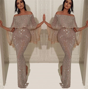 Sparkly Sequins Mermaid Vestido Longo 2020 Árabe Bateau Neck Off The Shoulder Slit Pageant formal do partido Prom Vestidos BC1019