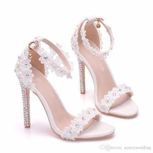 2020 Summer White Lace лодыжки ремень Свадьба Сандал 11 см Высокие каблуки Открытый Toe Тонкий каблук Женщины партии платье обувь