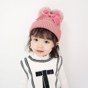 Enfants d'hiver Knit Chapeaux Bow Double cheveux boule d'hiver chaud Pompon Boy Caps Bébés filles Tricoté Automne Hiver Hat 07