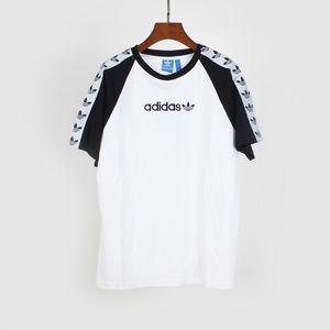 T-shirt pour homme de marque lettre broderie manches colorblock ruban personnalisé Tee shirt Homme