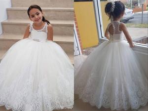 Robe de balle élégante 2021 robes de filles de fleurs pour mariage bijou de mariage dentelle trou de serrure au dos Fête première communion robe de pageant pour filles en bas âge