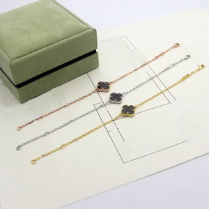 Europe America Fashion Lady Women Brass Single Motifs Onyx Mother of Pearl Malachite Carnelian Four Leaf Flower 18K Gold Chain Bracelets