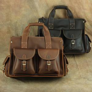 Genuine Cow Leather Messenger Bags Briefcases Organizer Bag Men Vintage Cowhide Business Shoulder Bags Laptop Bags Travel Totes Duffel Bag