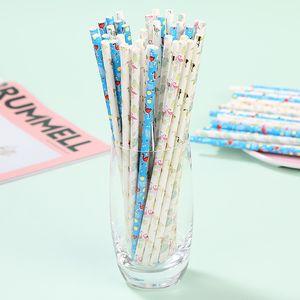 25pcs / lot colorido Flamingo Papel palhas cozinha beber suco palhas festa de aniversário do casamento descartável Louça