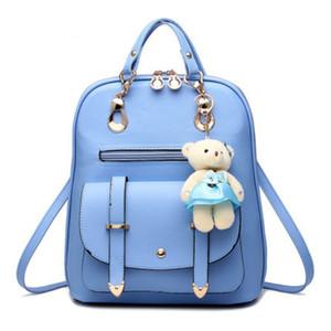 Sırt çantası Kadın 2019 Güvenlik sırt çantası Bir Ayı Ile Bir schoolbag Kolye Çıplak Satchel Deri Klasik Sırt Çantası Anti-hırsızlık Okul Çantası