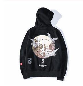 Вышивка японские журавли пуловер с капюшоном мужчины зима хип-хоп мужской свободного покроя толстовки с капюшоном уличная одежда