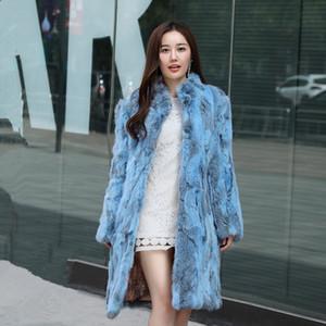 ENCANTADOR-Jinnuo invierno de las mujeres señoras de la capa de piel de conejo collar del soporte de larga duración cálida naturaleza real del 100% SH190930 abrigo de piel de conejo ropa exterior JN430