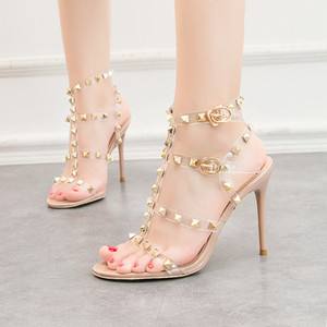 PVC transparent sexy sandals fashion 10cm T-strap rivets high-heeled summer party shoes roman ankle strap gladiator sandals 5 colors
