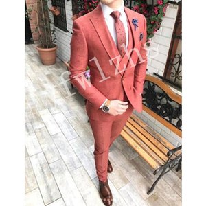 Custom-made Peak Lapel Groomsmen One Button Groom Tuxedos Men Suits Wedding Prom Dinner Best Man Blazer(Jacket+Pants+Tie+Vest) W91