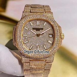 2019 Best Edition Jumbo 5719 / 10G-010 oro giallo 18 carati completamente con diamanti ETA Cal 324SC Orologio automatico uomini cinturini con diamanti TWa1