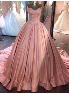 Simple Cheap 2019 New Arrival Pink Ball Gown Quinceanera Dresses Sweetheart Lace Applique Prom Dresses Vestidos 15 ano Quinceanera Gowns