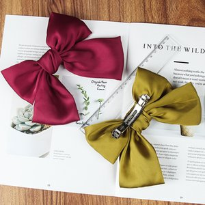 2020 New Fashion Bow-knot Hair Clips For Women Girls Solid Color Spring Clip Hairpin Hair accessories