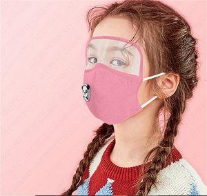 2 em 1 crianças lavável Máscara Facial pode adicionar almofada de filtro PM2.5 Protective crianças olho protetor facial cobrir reutilizável respirável meninos meninas mascarar D6811