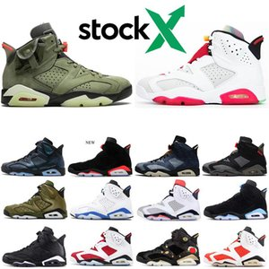 Stock X 6 6s Hare bred Infrared 6s Men Basketball Shoes Black Cat TRAVIS SCOTTS DMP blue Mens shoes Sneakers Designer Trainers 7-13