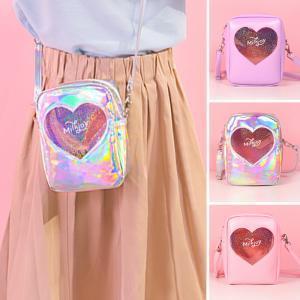 láser Milkjoy niñas bolsa de mensajero de las mujeres del corazón de la PU manera de los bolsos de hombro bolsa de Corea del Messenger Bags Bentoy PU bolsa para transportar telefono AAA1797-14