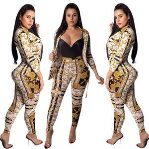 Женщины дизайнер печатных мода повседневный костюм сексуальный принт с длинным рукавом из двух частей пиджаки брюки комплект одежды